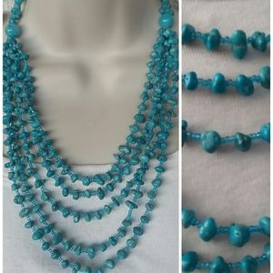 Turquoise Multi Strand Beaded Necklace Layers